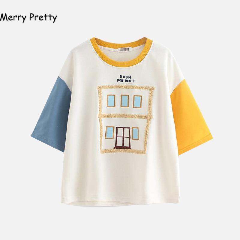 Vrolijk Mooie zomer t-shirt vrouwen mode harajuku half mouw patchwork borduurwerk katoenen t-shirt tops leuke tee camisetas mujer