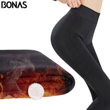 BONAS 3pcs Winter Velve Plus Size Tights Women Legins Pantyhose Female Sexy Tight Supre Warm  High Elastic Girls Panty