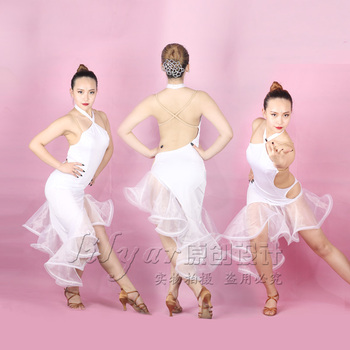 Latin Dance Dress For Women White Dress Female Dance Clothes Practice Dance Costume Competition Performance Latin Dresses VDB146