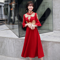 Real Photos Red Chinese Bride Bridal Cheongsam Dress Retro Embroidery A Line Wedding Dresses Elegant 3/4 Sleeve Party Gowns