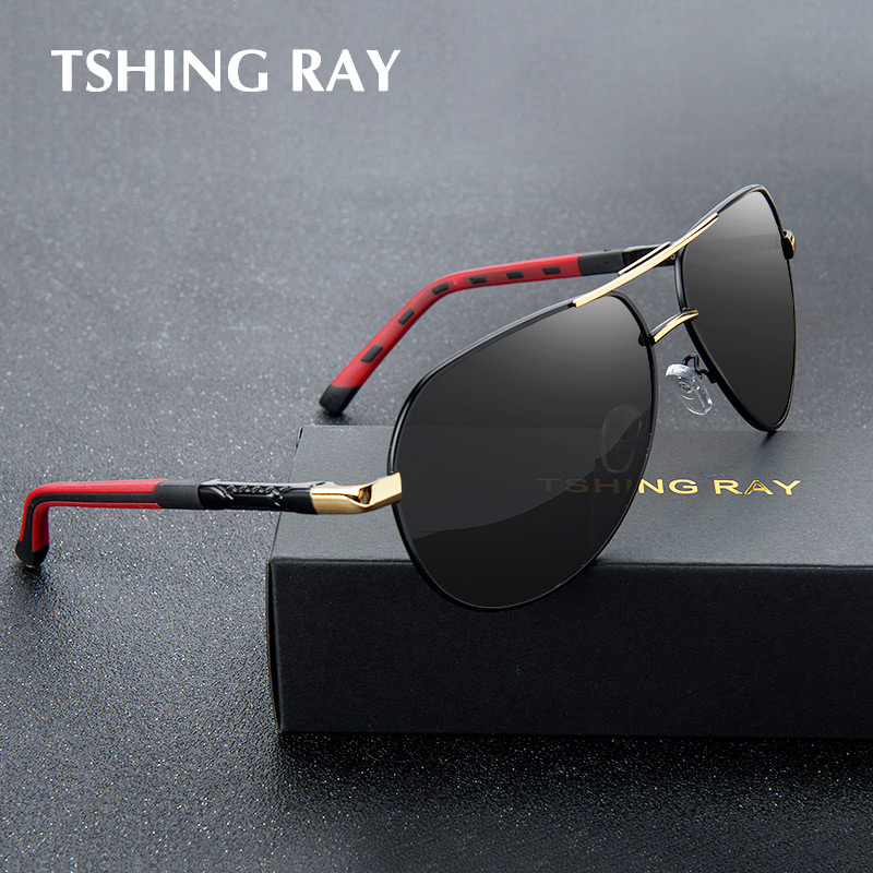 TSHING RAY Men Aviation Polarized Sunglasses Driver Pilot Coating Mirror Sun Glasses For Male Driving UV400