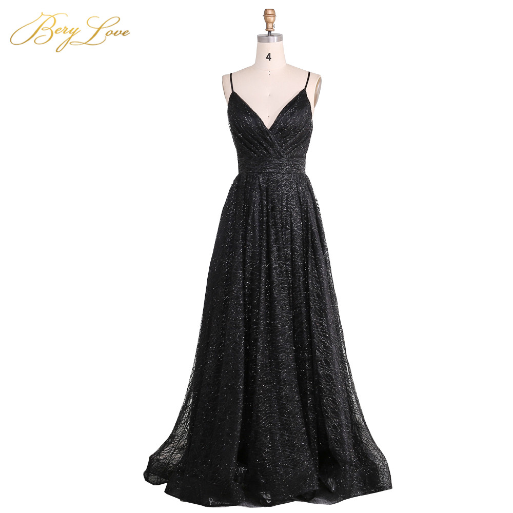 BeryLove Sexy Black Sequin Evening Dress 2019 Spaghetti Straps Evening Gown V Neck Formal Party Slit