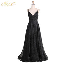 BeryLove Sexy Black Sequin Evening Dress 2019 Spaghetti Straps Gown V Neck Formal Party Slit Prom robe de soiree