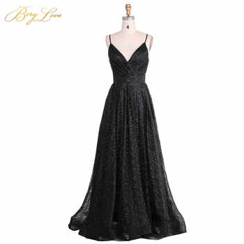 BeryLove Sexy Black Sequin Evening Dress 2019 Spaghetti Straps Evening Gown V Neck Formal Party Slit Prom Dress robe de soiree - DISCOUNT ITEM  30% OFF Weddings & Events