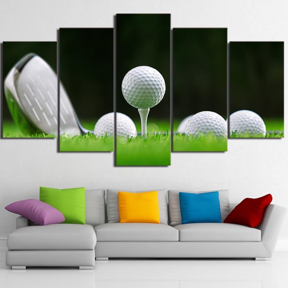 5 Teile/satz Gerahmte HD Gedruckt Weiß Golfbälle Und Club Leinwand ...