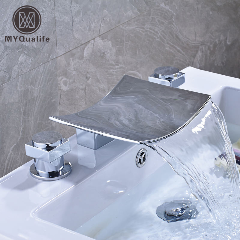 Polished Chrome Wide Waterfall Spout Bathroom Tub Mixer Faucet Dual Handle Widespread Basin Sink Hot and Cold Taps polished chrome wall mount waterfall bath sink mixer faucet dual handle bathroom basin hot and cold water taps