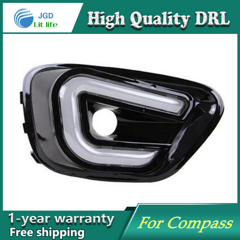 Free shipping !12V 6000k LED DRL Daytime running light case for Jeep Compass fog lamp frame Fog light Car styling free shipping 12v 6000k led drl daytime running light case for subaru wrx 2015 2016 fog lamp frame fog light car styling