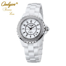 Onlyou Brand Luxury Ceramic Watches Women Men Quartz Watch With Diamond Ladies Dress Watch Party Business Lovers Watch 6902