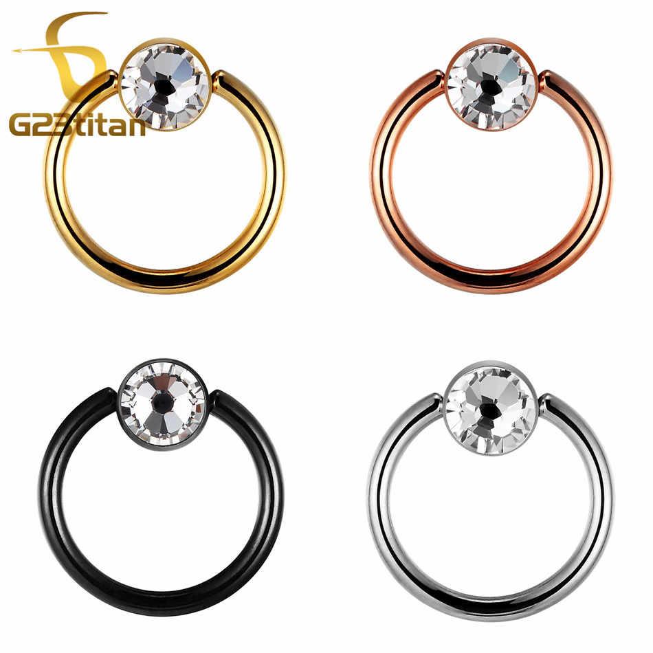 G23 טיטניום גביש טבעת אוזן מחץ סחוס Tragus Helix שפתיים פטמות פירסינג טבעות יוניסקס גברים נשים גוף פירסינג תכשיטים