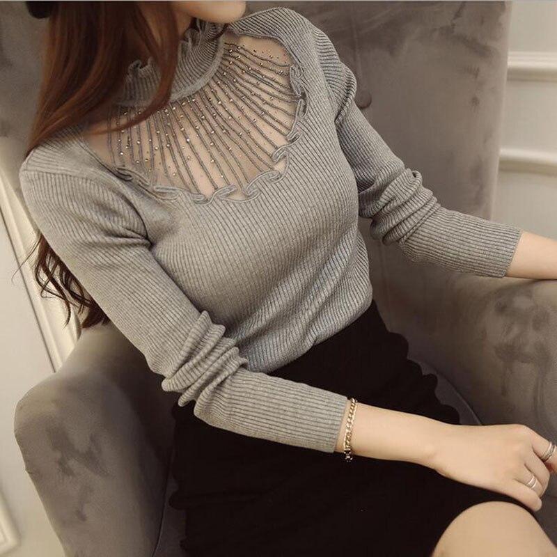Nuevas Mujeres de La Moda Suéter Sexy Remiendo Del Cordón de la Camisa Delgada d