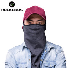 Rockbros Winter Ski Gezichtsmasker Cap Winddicht Thermische Fleece Snowboard Motorfiets Mannen Masker Ademend Koude Training Half Gezichtsmasker(China)