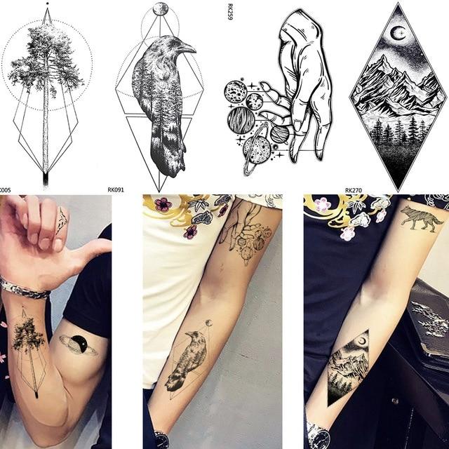 d50591bff9c69 New Men Waterproof Crow Tattoo Arm Geometric Trunk Temporary Tattoo Women  Peak Ankle Stickers Puppet Line