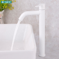 White bathroom basin faucet european style 304 stainless steel
