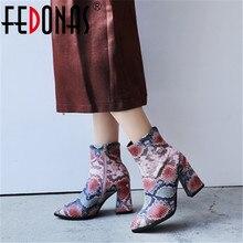 FEDONASใหม่แฟชั่นเซ็กซี่พิมพ์Puหนังผู้หญิงข้อเท้ารองเท้า 2021 ฤดูใบไม้ร่วงฤดูหนาวใหม่ชี้Toeรองเท้าส้นสูงเชลซีรองเท้า