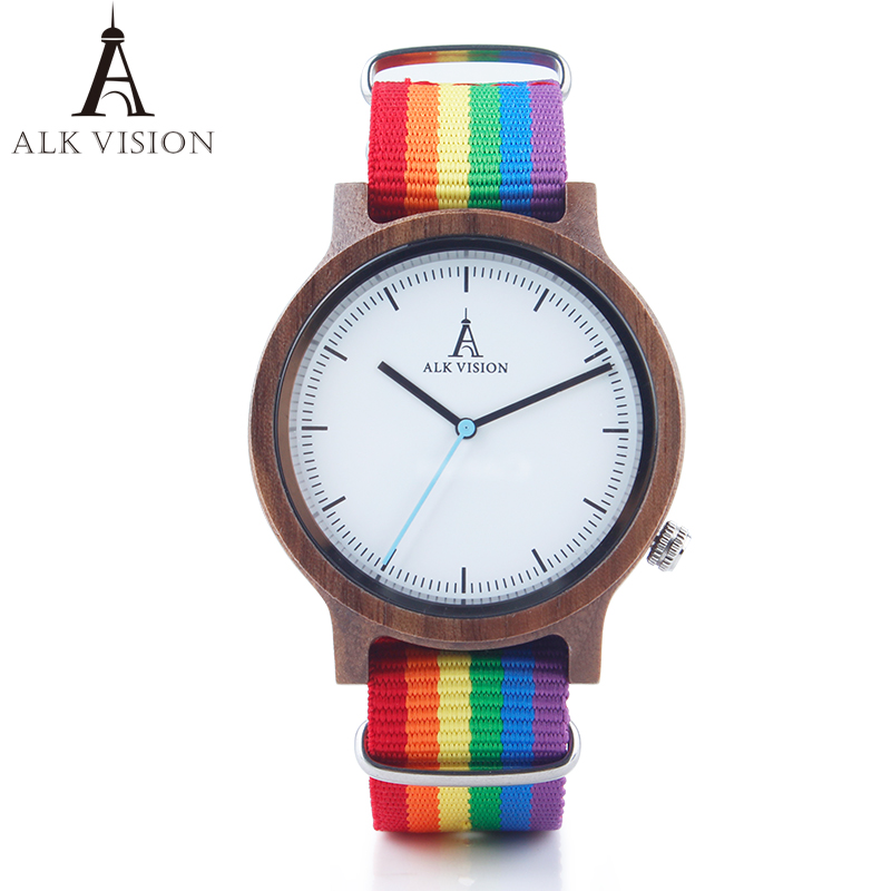 ALK Vision Pride Rainbow Top Wood Watches Luxury Brand Women Mens Wooden Watch with Canvas LGBT Strap Fashion Casual Wristwatch(China)