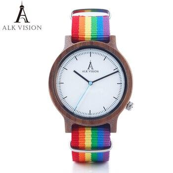 ALK الليلية Pride Rainbow أعلى ساعات خشبية الفاخرة العلامة التجارية النساء رجل خشبية ووتش مع قماش المثليين حزام الأزياء عارضة ساعة اليد