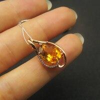 LANZYO 9K Rose Gold Natural Citrine Pendants Match Diamond Wedding For Women Wholesale Gift New Hot
