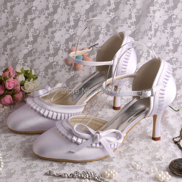 Wedopus MW155 White Satin Bow Wedding Sandals for Women Closed Toe 8CM Heel
