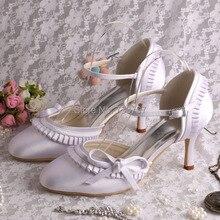Wedopus MW155 Белый Атласный Бант Свадебные Сандалии для Женщин Закрытым Носком 8 СМ Каблук