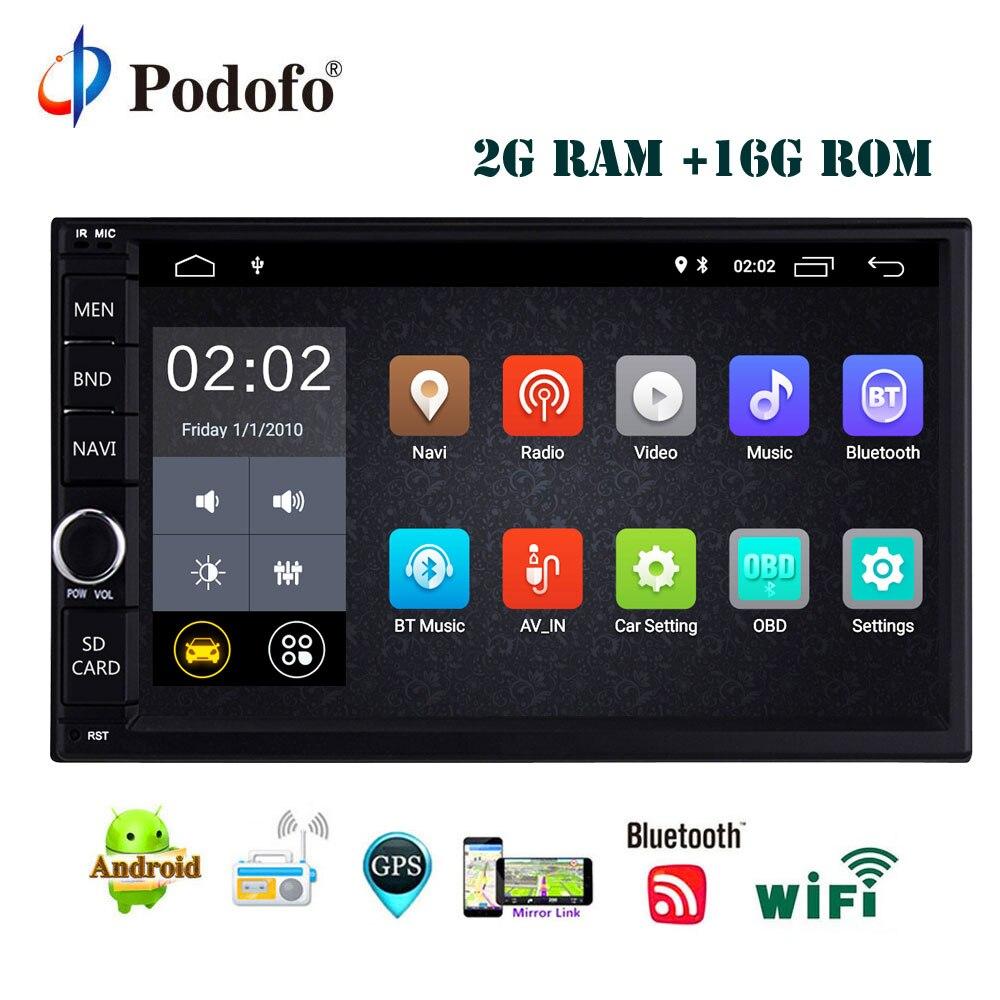 Podofo 2 Din Autoradio GPS Android 8.1 Universal Quad Core 2g 16g Double DIN WIFI Autoradio Navigation miroir Lien Rétro-Éclairage