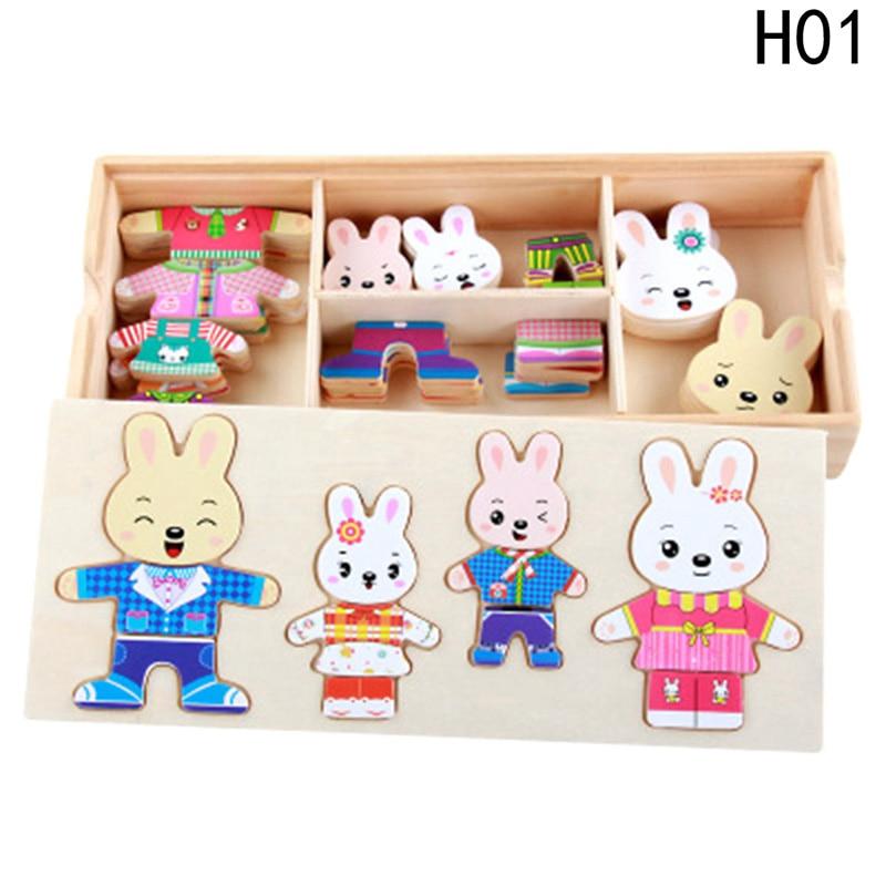 Детский Раннее Образование Деревянные головоломки Банни Наряжаться детям познавательные соответствующие игрушки