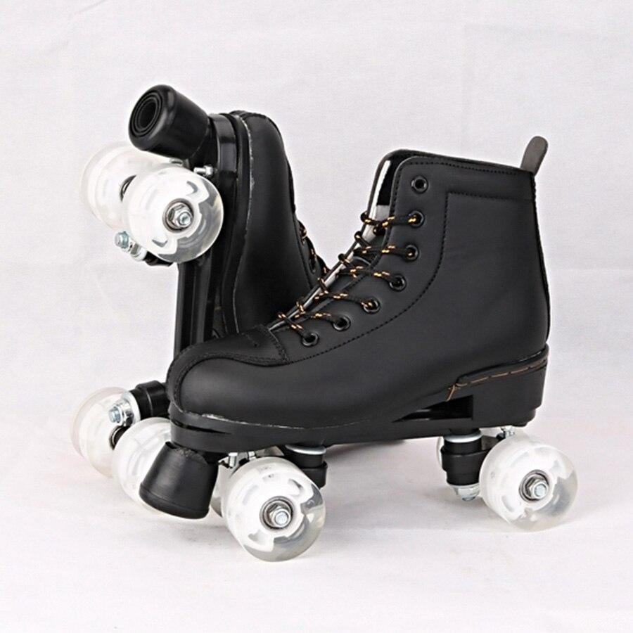 Japy patins à roulettes en cuir artificiel Double ligne patins femmes hommes adulte deux lignes chaussures de patinage Patines avec blanc PU 4 roues - 4