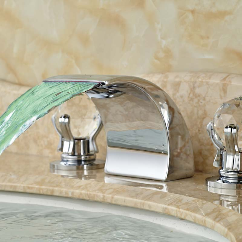 цена на Promotion Best Price Bathroom Sink Faucet Waterfall Widespread Spout Bright Chrome LED Light