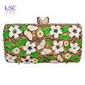LaiSC Newest beautiful white flower Clutch Bag oil drip crystal wholesale clutch purses green Diamond Evening bag sc451-A