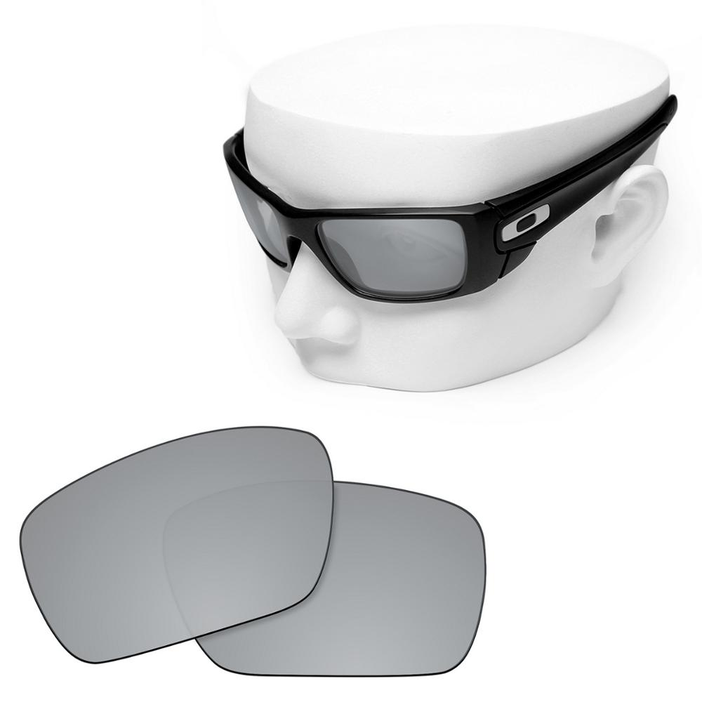 OOWLIT Polarized Replacement Lenses Of Silver Mirror For-Oakley Fuel Cell Sunglasses