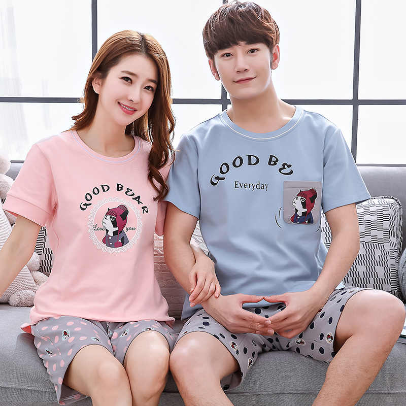 c60281a5e617 New Brand Summer Cotton Couple Pajamas Set Short Lovers Pyjamas Men   Women  Sleepwear Pijama Leisure
