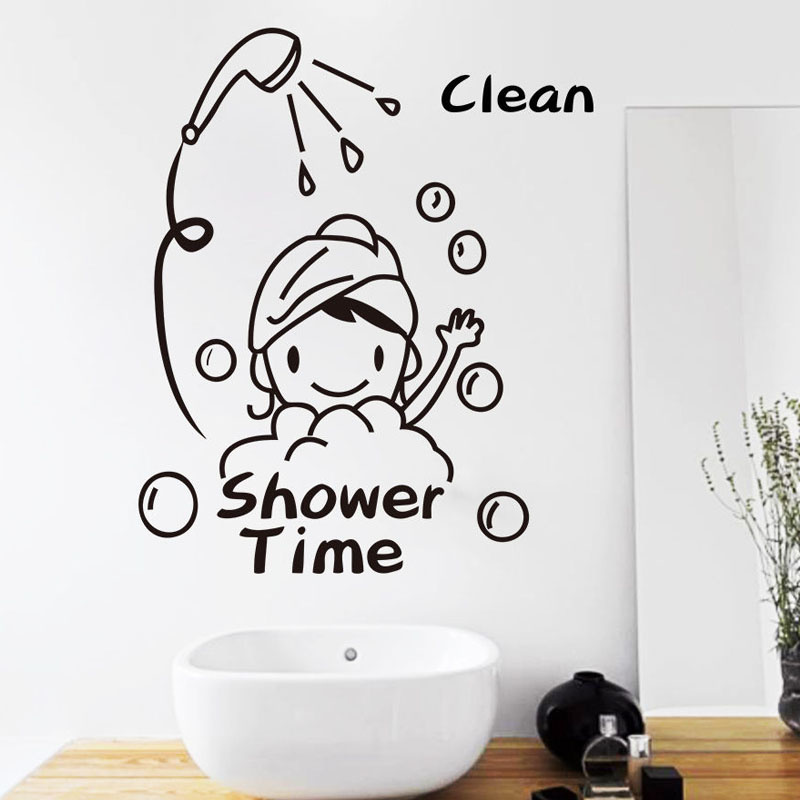 ✅shower time bathroom wall stickers baby have a bath mural