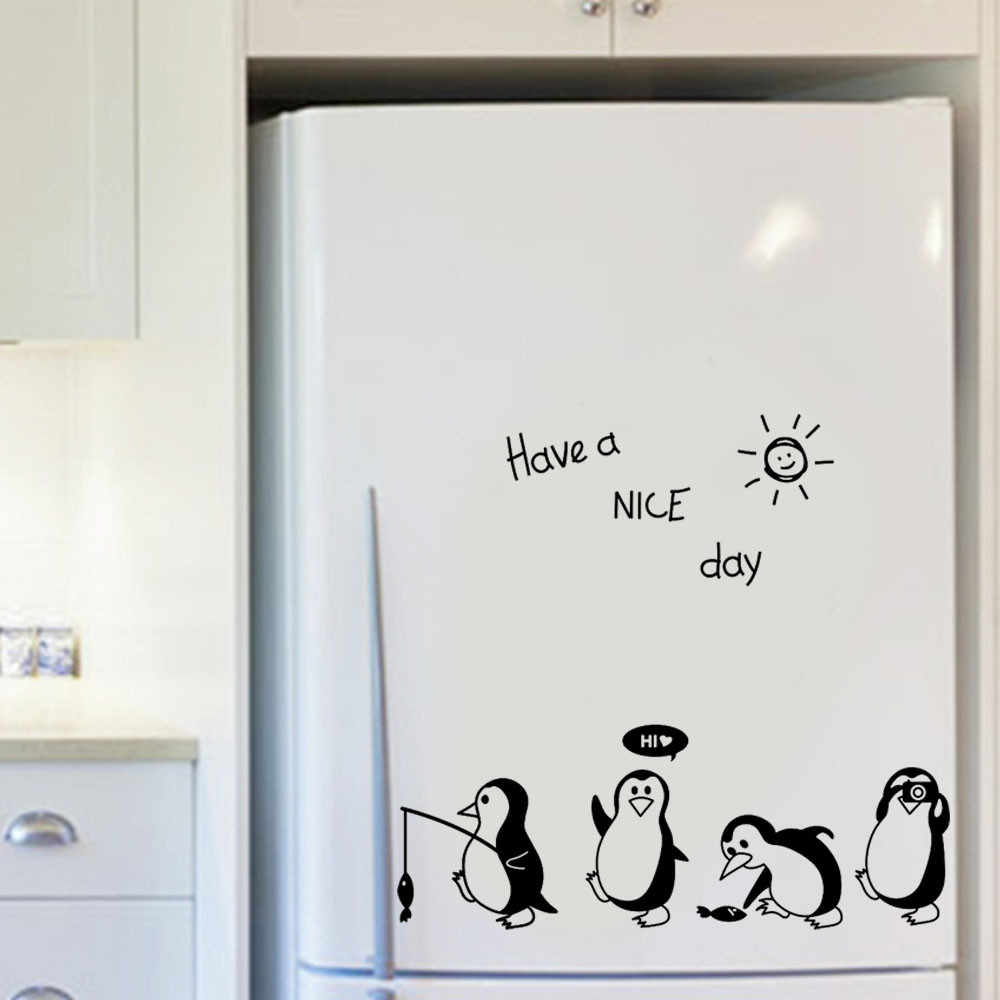 Havea Nice Day Cute Animals Penguin Refrigerator Sticker Fridge Kitchen Fridge Wall Stickers Art For Home Decoration 2018