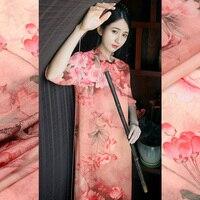 140cm Wide Silk Linen Digital Inkjet Silk Hemp Fabric Silk Fabric Spring And Summer Thin Clothing