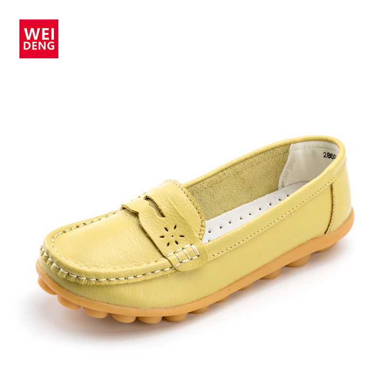 WeiDeng Women Genuine Leather Flats Gommino Moccasin Loafers Casual Slip On Cow Driving Fashion Ballet Boat Shoes branded men s penny loafes casual men s full grain leather emboss crocodile boat shoes slip on breathable moccasin driving shoes