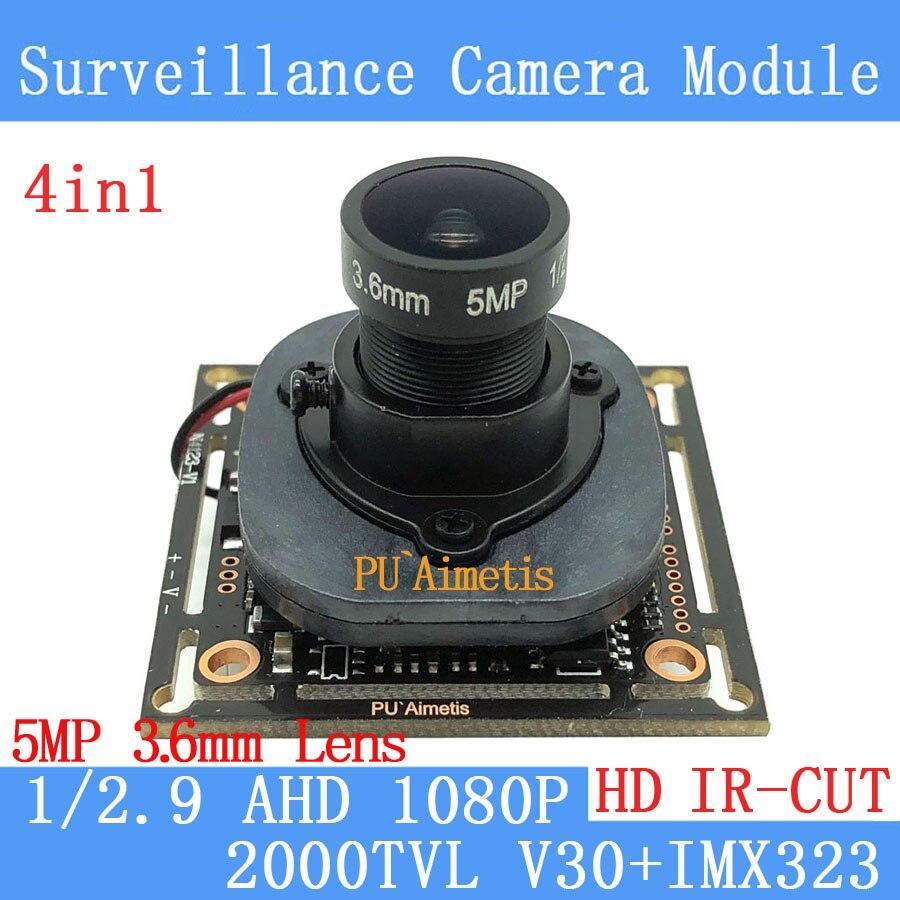 PU'Aimetis 2MP 1920*1080 P AHD 4in1 CCTV Caméra Module 1/2. 7 IMX323 2000TVL 5MP 3.6mm surveillance caméra + ODS/BNC Câble