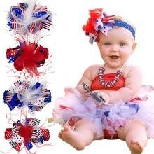 Флаг США над верхней волосы лук 6 дюйм(ов) Детские повязка на голову 4th июля Луки патриотические обувь для девочек большой банты с заколками HB376D
