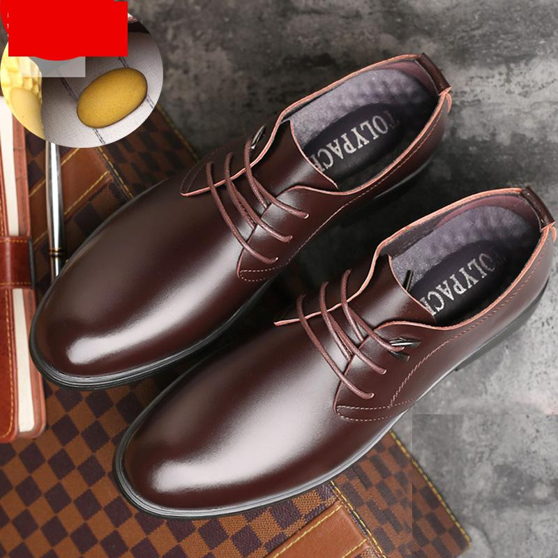 Men 39 s casual business lace up trend massage breathable formal wear leather black classic Wedding dress shoes wear resisting in Formal Shoes from Shoes