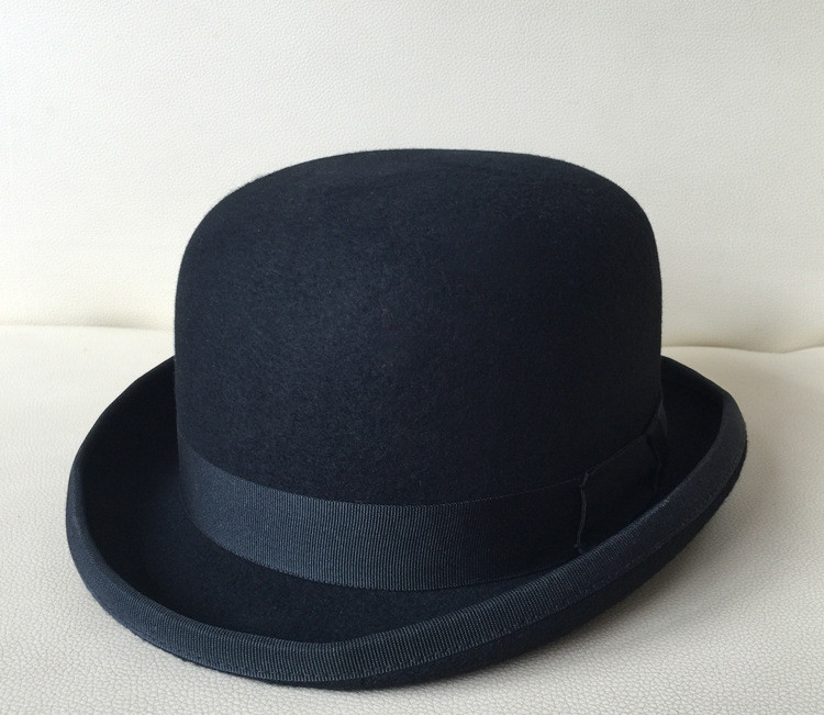 01907-nao-bowler black dome wool formal  gentleman fedoras  hat  cap men women leisure hat