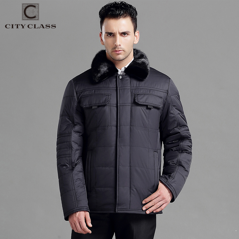 CITY CLASS New Men Classic Winter Jackets And Coats Slim Short Thinsulate Removable Mink Collar Jacket Outwears Big Pocket 14306