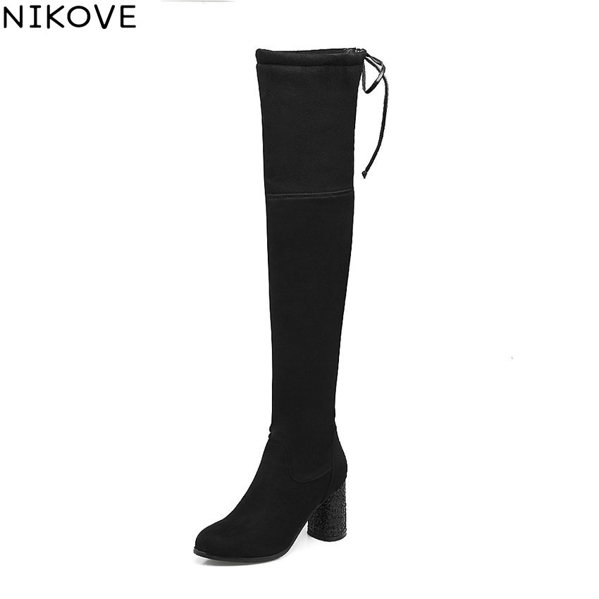NIKOVE 2018 Lace Up Women Boots Rhinestone Square High Heel Over The Knee Boots Stretch Fabric Wedding Ladies Boots Size 34-43 nemaone 2018 over the knee boots square med heel women boots sexy ladies lace up stretch fabric fashion boots black size 34 43
