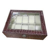 Faux Leather Watch Case Storage Display Box Organiser Jewelery Glass Top Size:10 Grid Crocodile Brown