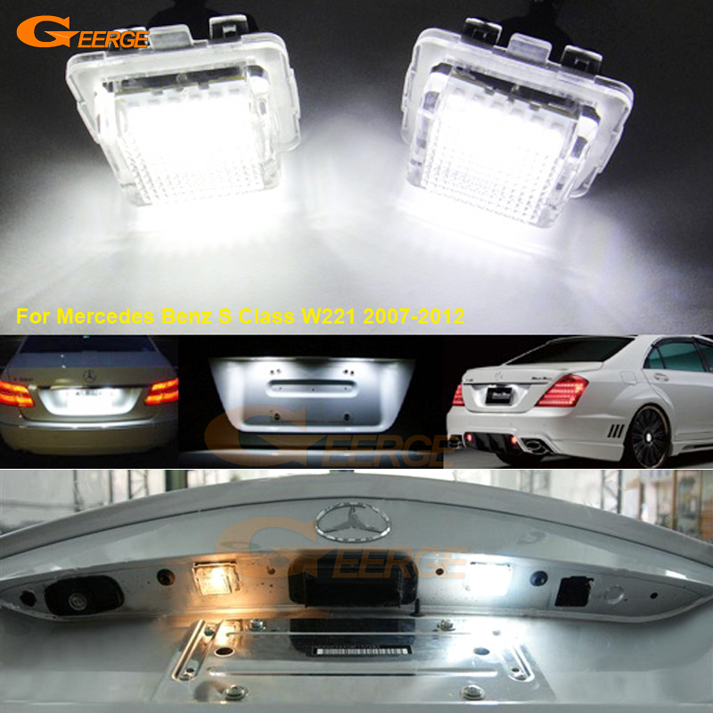 For Mercedes Benz S Class W221 2007-2012 Excellent Ultra bright 18 SMD LED License Plate lamp Lights No OBC error auto fuel filter 163 477 0201 163 477 0701 for mercedes benz