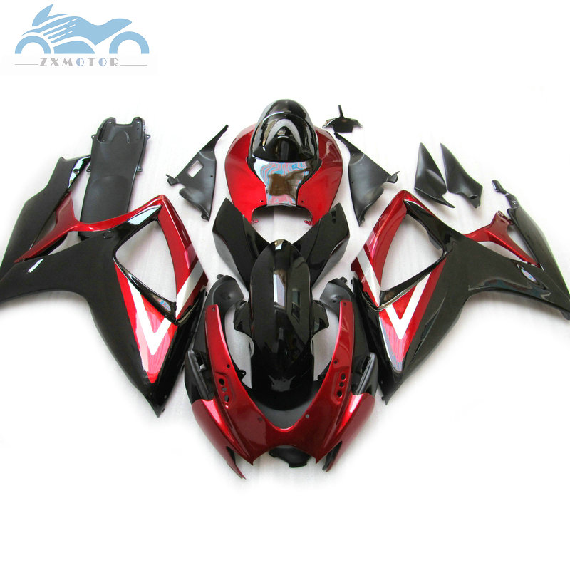Injection <font><b>Fairing</b></font> kits for Suzuki <font><b>GSXR</b></font> <font><b>600</b></font> GSXR600 2006 <font><b>2007</b></font> sport <font><b>fairings</b></font> kit GSXR750 <font><b>GSXR</b></font> 750 K6 06 07 red black PL5 image