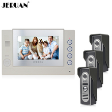 JERUAN Home 7 inch Screen video door phone intercom system 1 Record monitor + 700TVL COMS Camera 8G SD In stock