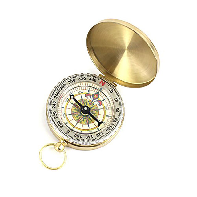 Pure copper clamshell compass with luminous pocket watch compass portable outdoor multi-function metal measuring ruler tool 1