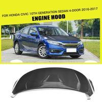 Стайлинга автомобилей Carbon Fiber передний капот шляпки Чехлы для Honda Civic Для 10th поколения Седан 4 двери 2016 2017 R Стиль
