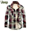 АФН JEEP 2016 осень и зима новый мужской рубашку с длинными рукавами плюс толстый бархат теплой клетчатой рубашке большой размер мужские рубашки 99