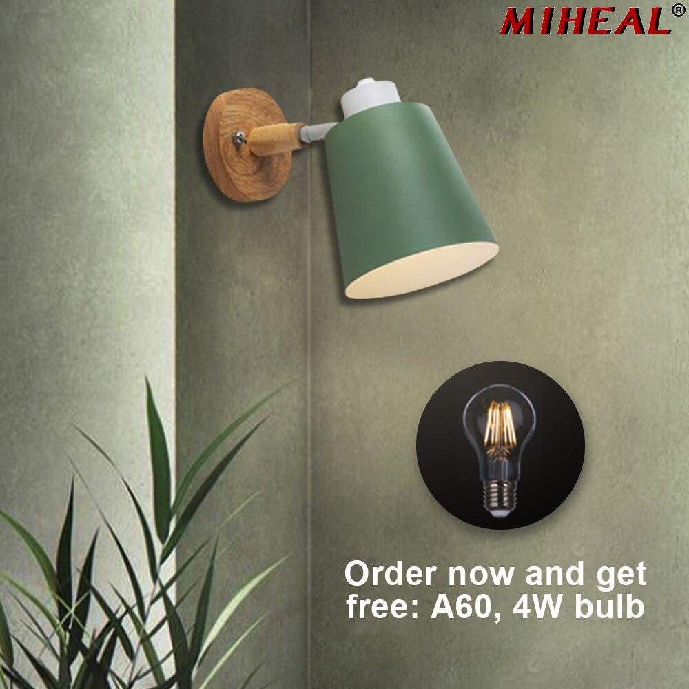 Modern Wood Wall Lamp Nordic style Indoor Lighting Bedside LED Wall Light for Children Reading Bedside Fixture Bedroom 3