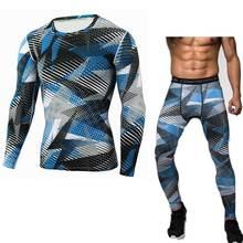 Для мужчин топ, футболка+ Плотные брюки подштанники Фитнес зима быстросохнущая Gymming Весна Спортивные Леггинсы для бега тренировки комплекты термобелья V10