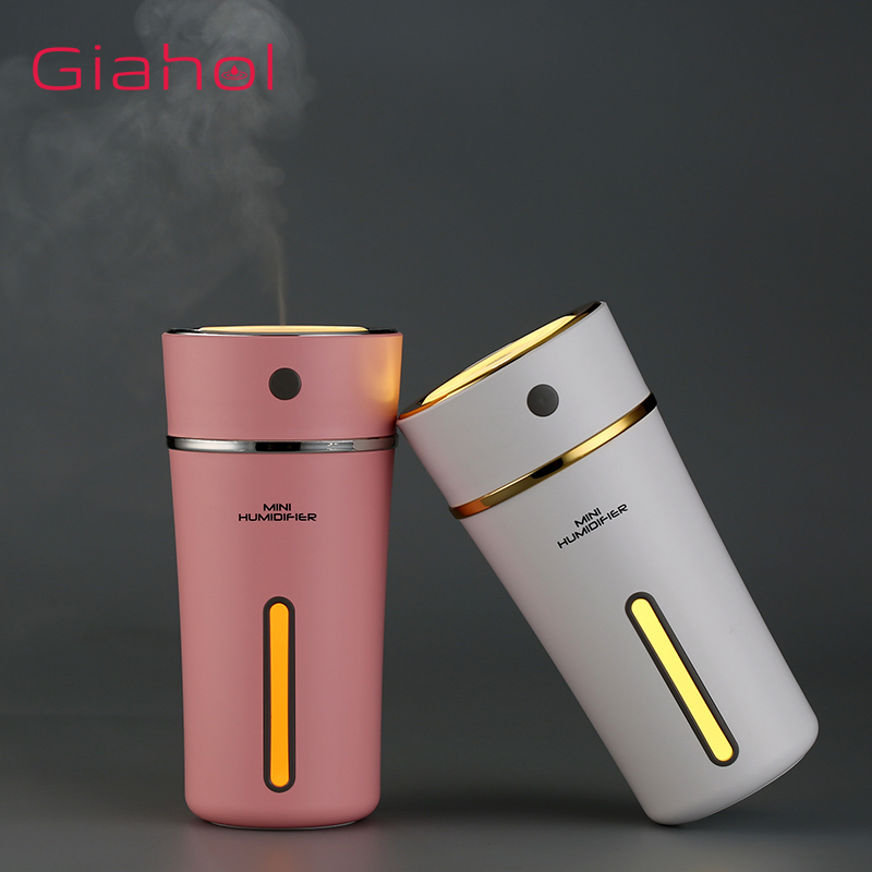 GIAHOL 300ml Rechargeable USB Mini Air Humidifier Cute Cup Style Cool Mist Ultrasonic  Aroma Diffuser with LED Night Light Pink